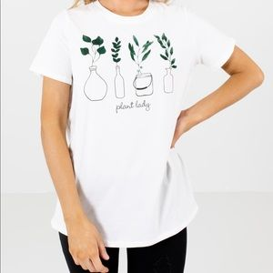 Plant Lady White Graphic Tee Size Small